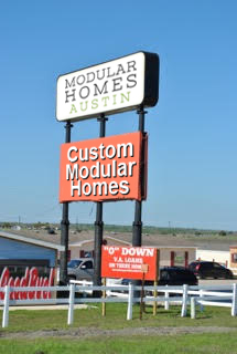 Modular Homes Austin Road Sign